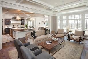 open floor plan kitchen and living room small open plan kitchen and living room living room traditional with kitchen island fabric shade
