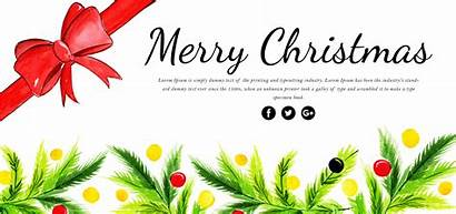 Merry Watercolor Christmas Floral Banner
