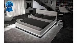 Lit 180x200 Design : lit design led giovani blanc en simili cuir de haute qualit et led en bas du lit ~ Teatrodelosmanantiales.com Idées de Décoration