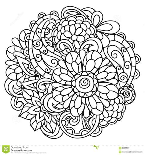 Background With Line Flowers For Adult Coloring Stock