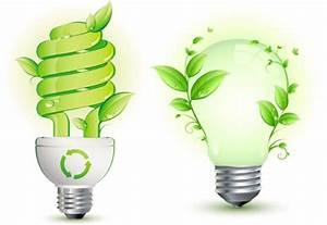 Creative Green Energy Saving Light Bulbs Vector Graphics