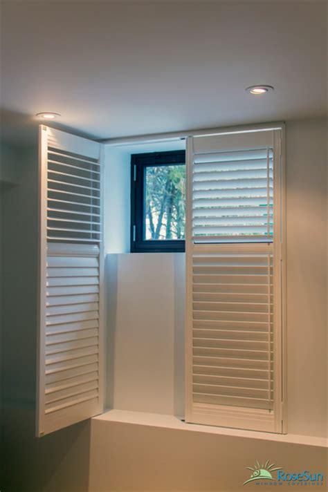 wooden shutters modern basement toronto by rosesun