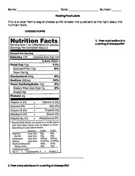 reading nutrition labels worksheet high school besto blog