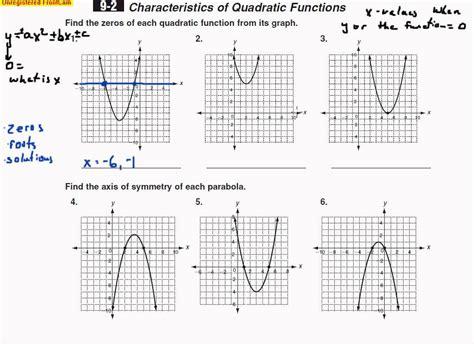 algebra b day 95 part 1 characteristics of quadratic