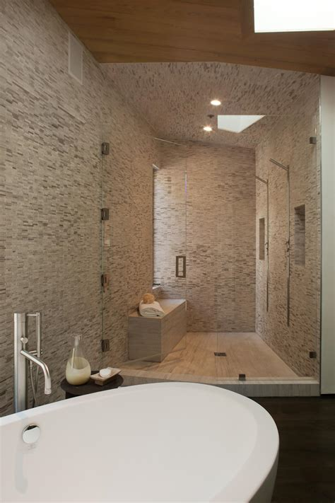 Spastyle Master Bathroom With Stonetiled Walls Hgtv