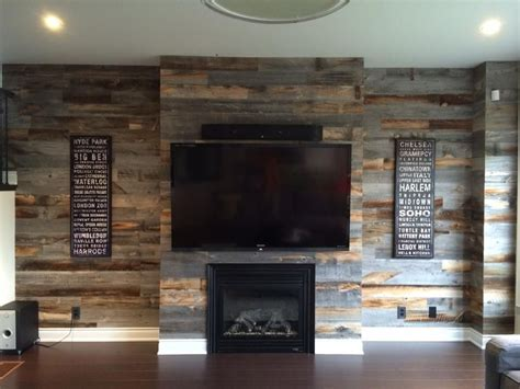 Living Room Accent Wall Fireplace by Reclaimed Weathered Wood Masculine Glam Accent Walls