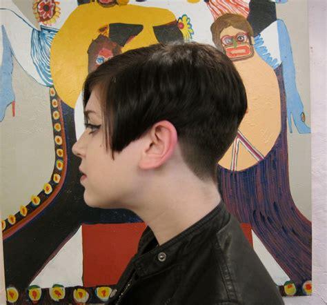 Shave Shaved Buzz Buzzed Nape Neck Angled Bob Short Hairstyle 2013