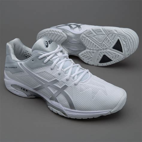 asics gel solution speed  whitesilver mens shoes  court