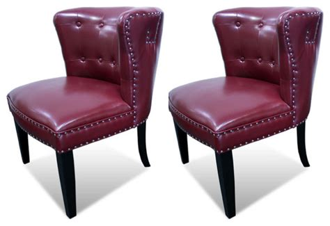 Regal Tufted Accent Chair With Nail Heads, Set Of 2
