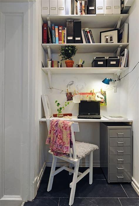 shelves above desk desk nook den library office