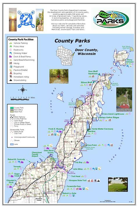 map of door county wi door county park map
