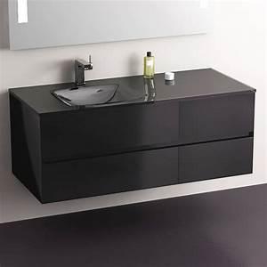 meuble salle de bain noir 120 cm 4 tiroirs plan verre glass With meuble salle de bain en 120 cm 1 vasque
