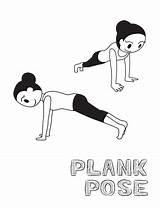 Illustration Plank Cartoon Yoga Vector Monochrome Pose Activity sketch template