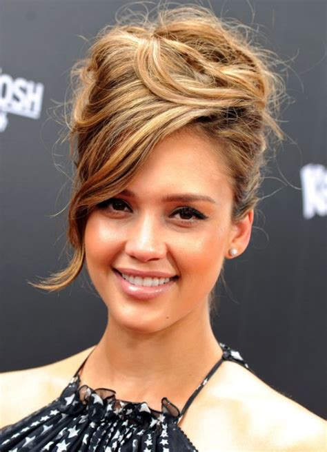 jessica alba sophisticated messy updo  side swept