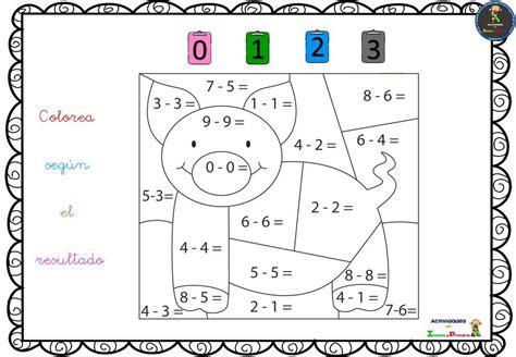 Colorea según el resultado resolviendo sumas y restas (7