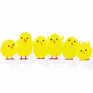 Six Fluffy Yellow Easter Chicks - Easter Party Ideas