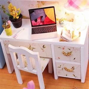 hoomeda diy wood dollhouse miniature with ledfurniture With homemade mini furniture
