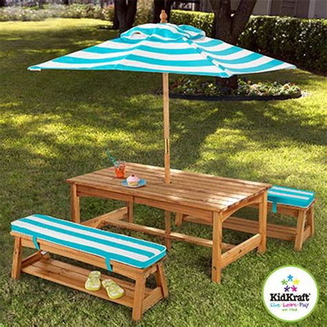 new kid s wood picnic table 2 benches outdoor cushions