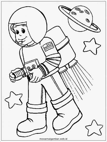 Gambar Mewarnai Astronaut Coloring Astronot Animasi Anak