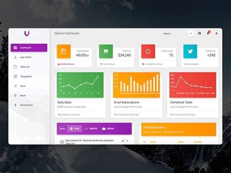 creative tim style material design dashboard  vbnet