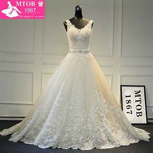 New design a line lace wedding dresses 2017 v neck beaded for Aliexpress wedding dresses 2017