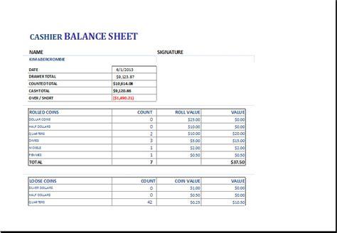 register balance sheet cash register balance sheet form templates resume