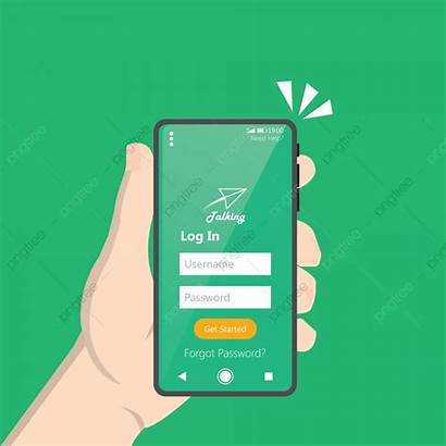 Login Application Interface Clean Form Smartphone Holding