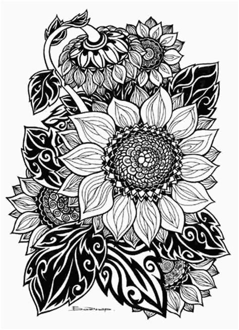 sunflower tattoo coloring pages | Tribal artwork, Doodle art, Coloring pages