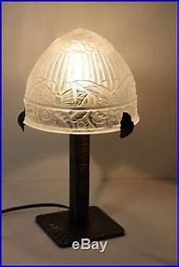 Lampe Globe Verre : lampe art deco ancienne lampe fer forg art d co avec globe en verre press moul d cors ~ Teatrodelosmanantiales.com Idées de Décoration