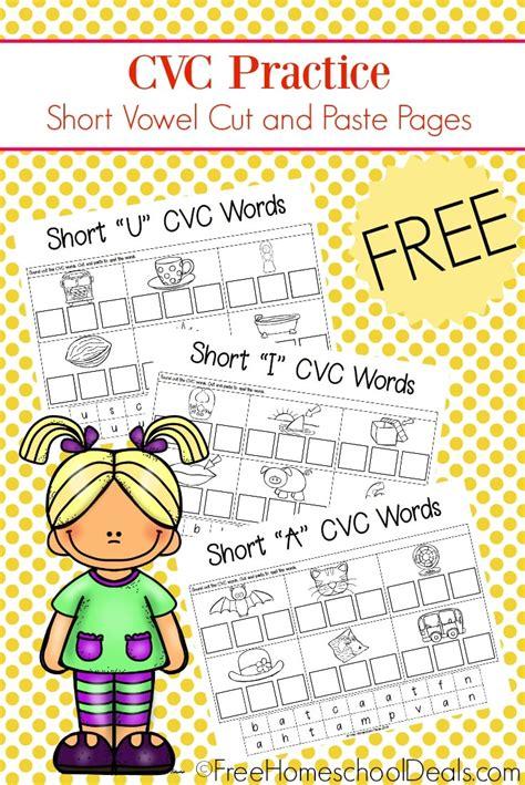cvc cut paste worksheets  homeschool deals