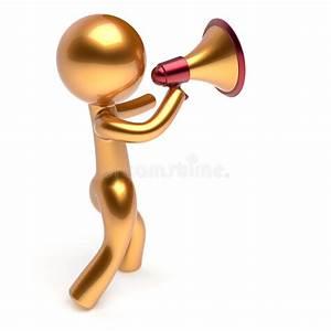 Man Character Speaking Megaphone Making Announcement Stock ...