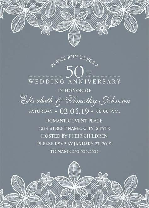 luxury lace  wedding anniversary invitations elegant