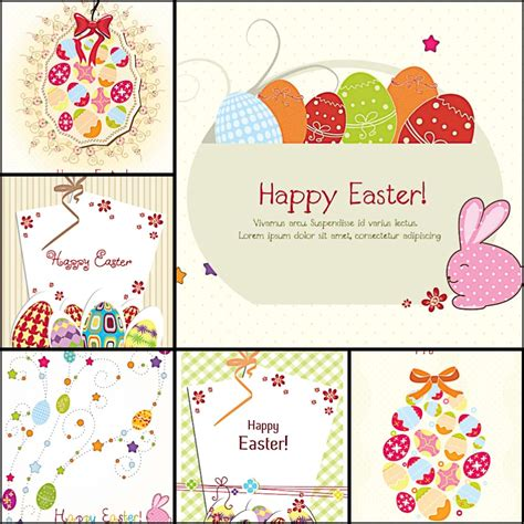 cute easter greeting cards vector