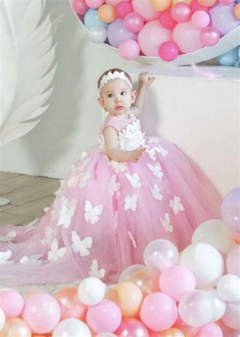 birthday pink gown  butterflies  baby girl dress  st birthday party wedding