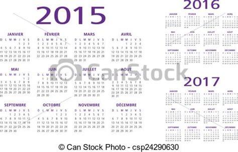 French calendar 2015 2016 2017 vector