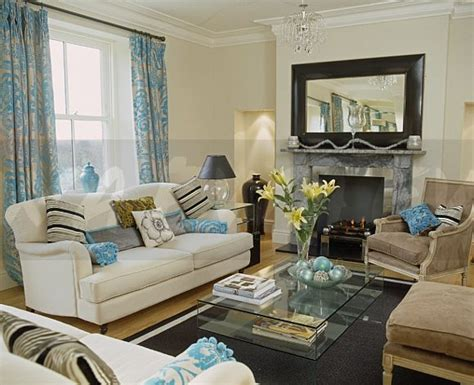 image patterned turquoise curtains and sofa in