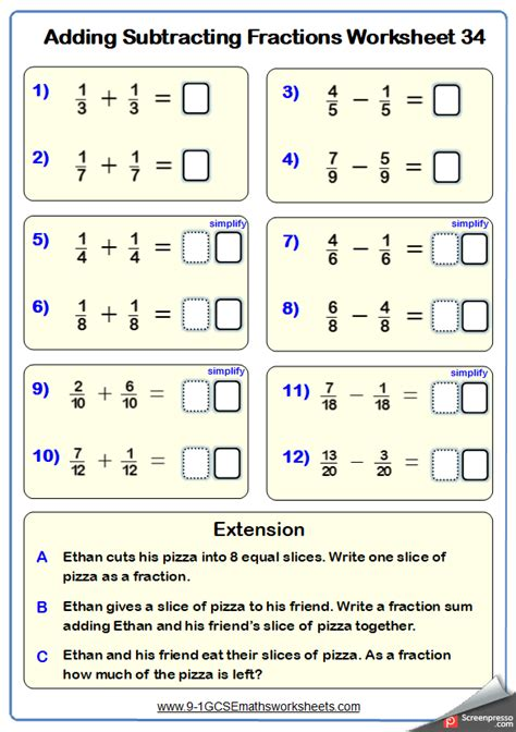 adding fractions worksheet   abilities  year