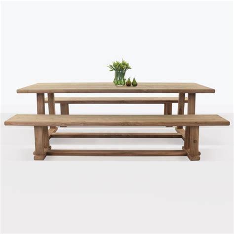 joseph outdoor dining table  bench set teak warehouse