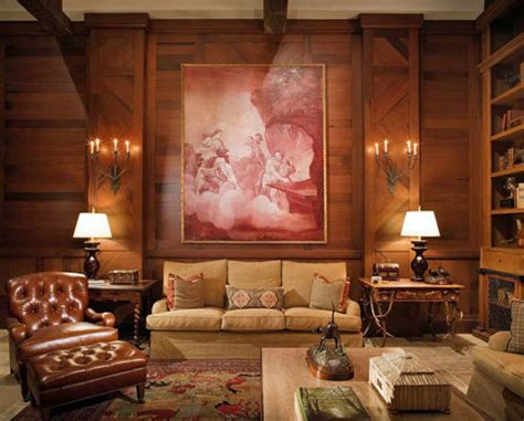 tuscan designed man cave hosts hunting lodge style