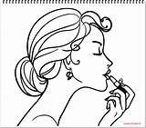 Coloring Makeup Nail Lipstick Polish Draw Drawing Pages Lip Accessories Mirror Getdrawings Sketch Template sketch template