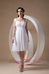 Cute white cocktail dress column sheath straps chiffon for Cute short dresses to wear to a wedding