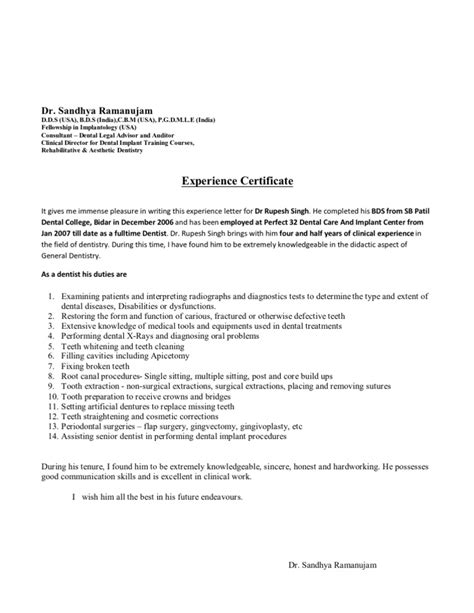Dentistry Work Experience Letter by Experience Letter Format
