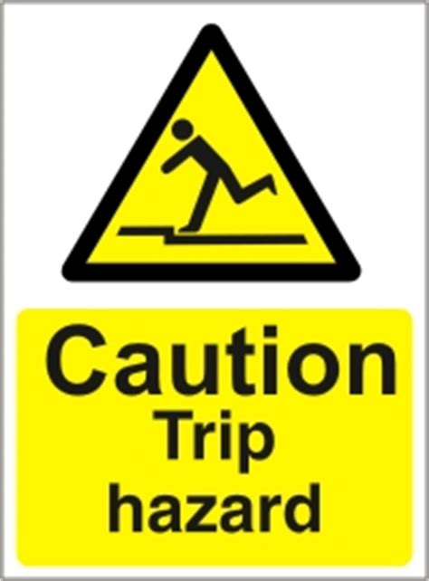 caution trip hazard health  safety sign ssd