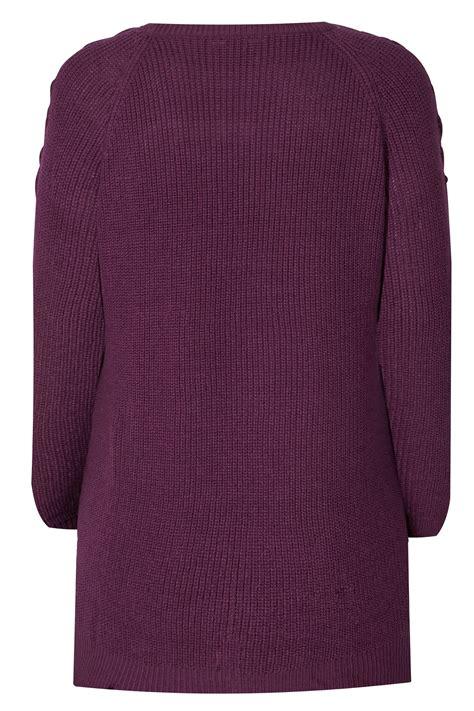 pull tricot 233 violet la 231 age 201 paules grande taille 44 224 64