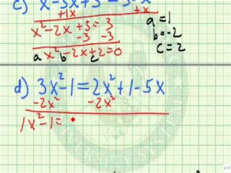 write a quadratic equation in standard form youtube