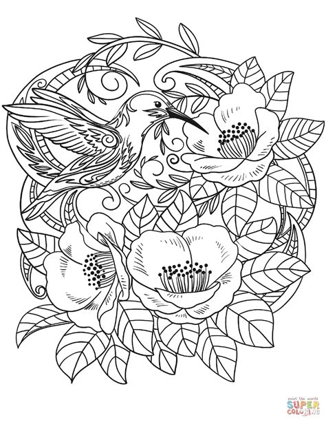 Hummingbird In Flowers Coloring Page  Free Printable