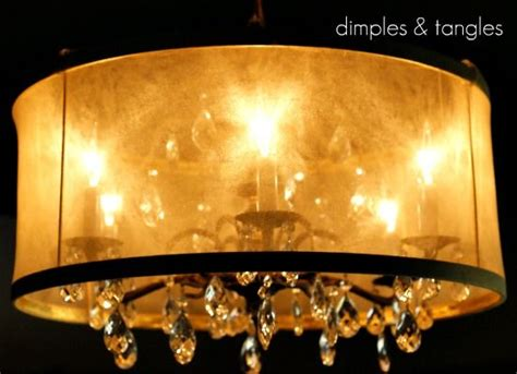 Chandelier With Sheer Drum Shade by Diy Drum Shade Tutorial More Diy Drum Shade And Drum