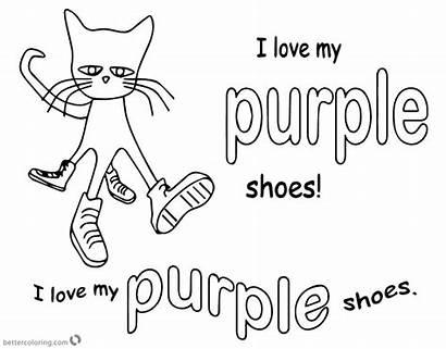 Pete Cat Coloring Pages Shoes Purple Printable