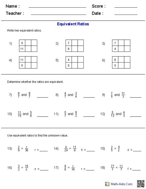 6th grade math ratio worksheets math lessons for 6th