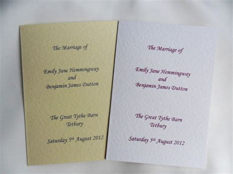 wedding order  service booklet  ivorymore wedding